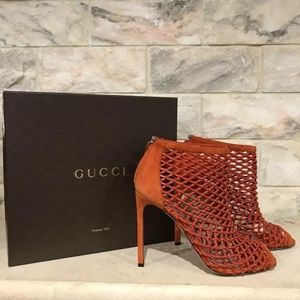 Gucci Eline Crystal Whisky Orange Caged Peep Toe